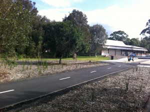View of Belmont Campus library building from the end of the Fernleigh Track