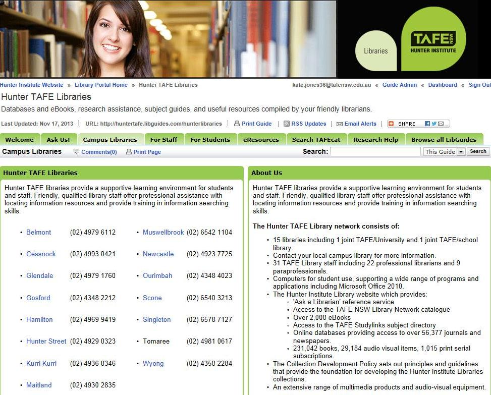 Library Portal home page