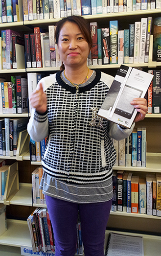 Sony e-Reader winner Eun Mi Jung from Gosford Campus.