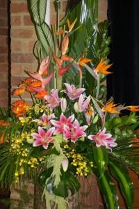 Floral arrangement at Kurri Kurri TAFE Library photographed by Bonnie Upson.