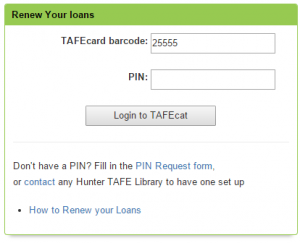 Click here to set up your PIN or renew your loans