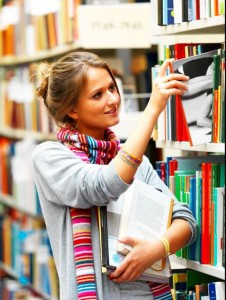 library member browsing shelves