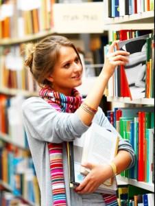 library member browsing shelves