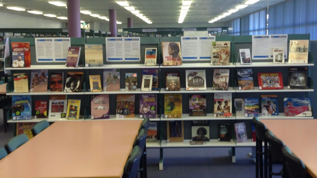 Reconciliation Week display at Glendale TAFE Library