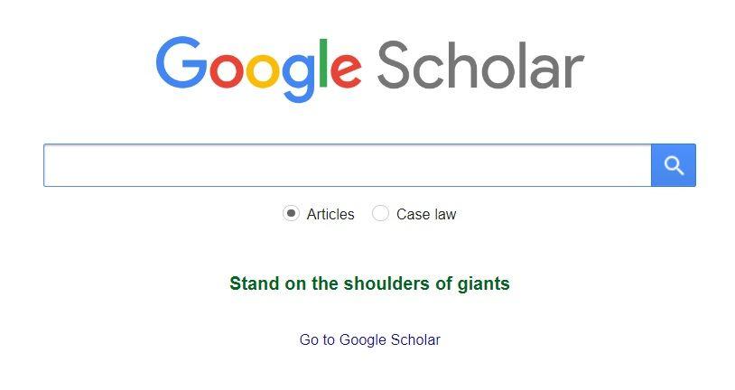 Google Scholar Search Screen