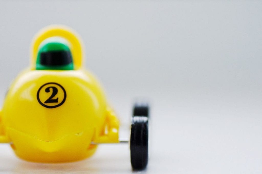 Lemon coloured racing car